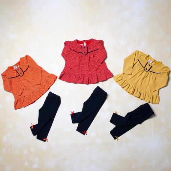 Costumaș fetițe cu buline și colant pentru bebeluși
