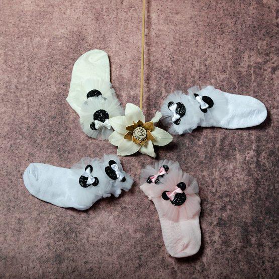Set de 4 perechi de șosete pentru fetițe cu fundițe