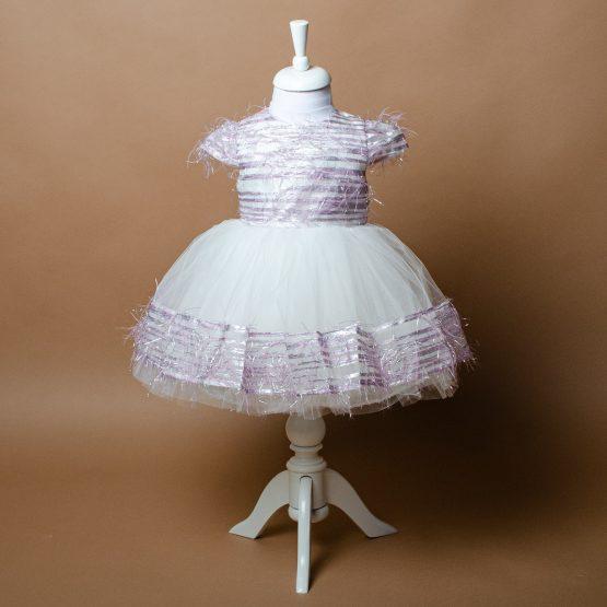 Rochiță superbă de fetițe cu pene mov ( 2-6 ani)