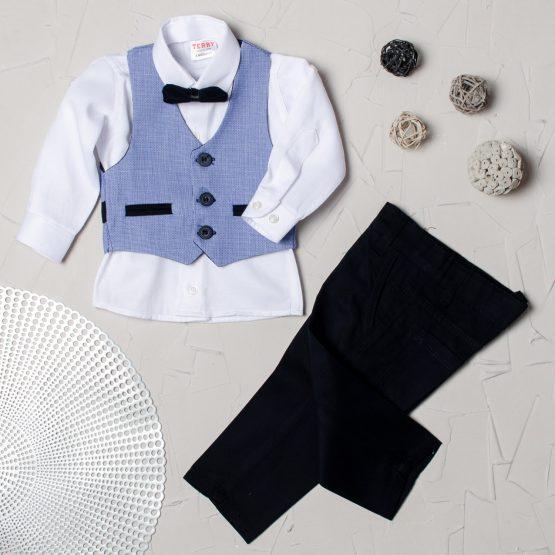 Costum elegant cu vestă de băieți Terry albastru