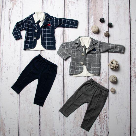 Costum elegant de băieți cu sacou și cravată (6-12-18 luni)