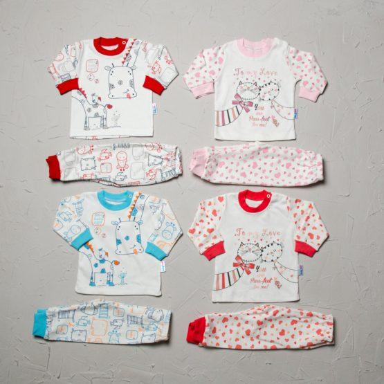 Pijama de bebelusi cu imprimeu (3-6-9 luni)