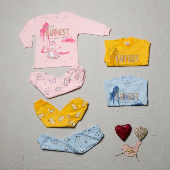Pijama de bebeluși colorată Tontiny ♥ Pinguin (9-12-18 luni)