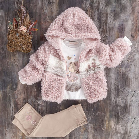 Costum de fetițe cu jachetă pufoasă Baby Rose