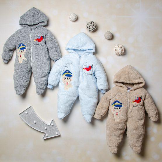 Salopetă de cocolino pentru bebe, 6-9 luni Pilot Bear Ferix