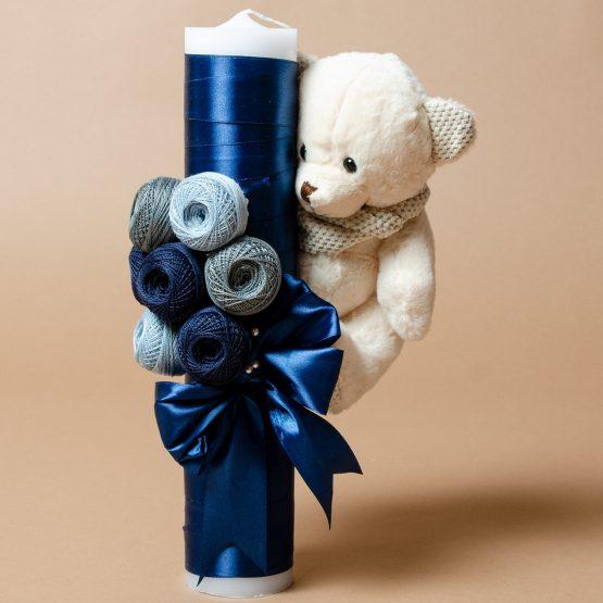 Lumânare de botez cu gheme și ursuleț bleumarin