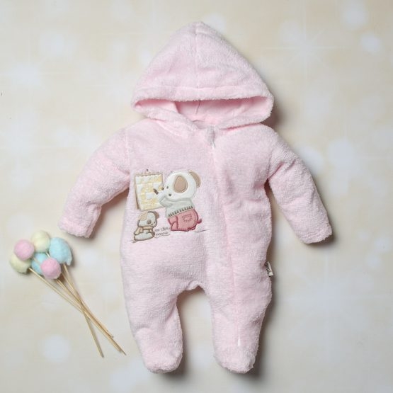 Salopetă de cocolino roz pentru fetițe Bear Teacher Flexi