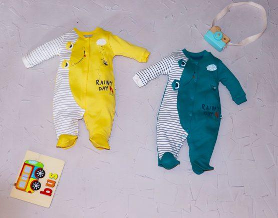 Salopetă haioasă de bumbac pentru bebeluși Mymio Frog