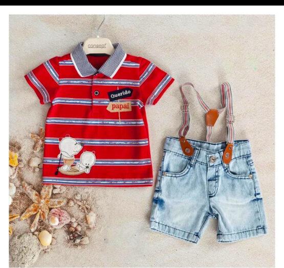 Set cu pantaloni scurți de blugi cu bretele și tricou polo ( 6-24 luni)