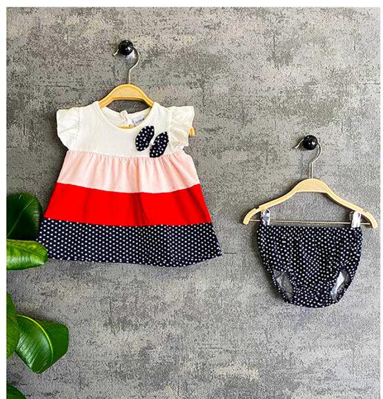 Rochiță de bumbac cu mânecă scurtă și chiloțel pentru bebeluși (6-18 luni)