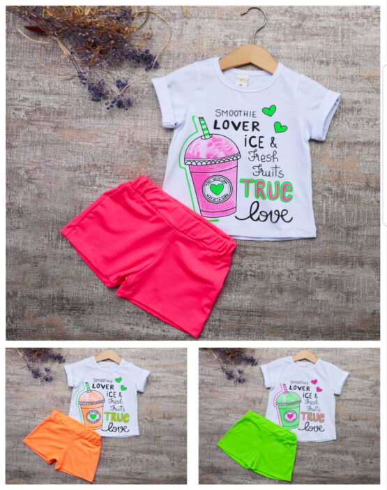 Costum de fetițe cu tricou și pantaloni scurți fosforescenți True Love ( 1-4 ani)