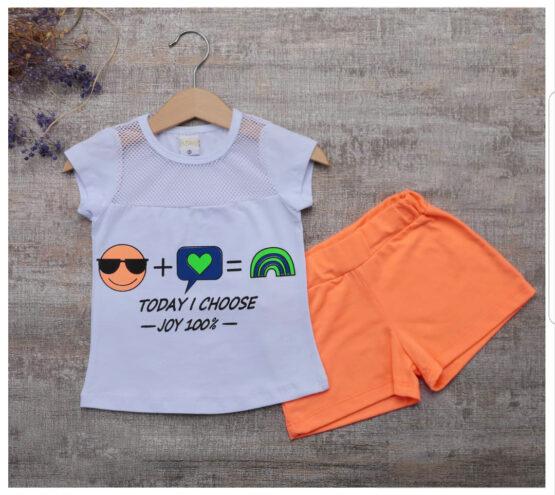 Costum de fetițe cu tricou smiley și pantaloni scurți ( 2-5 ani)
