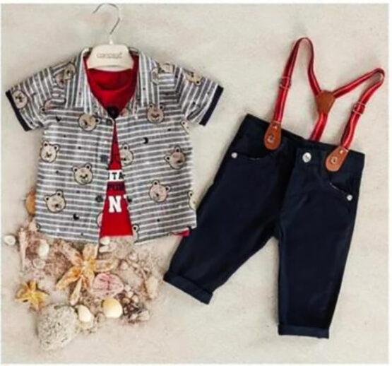 Set de băieți cu cămașă tricou și pantaloni cu bretele ( 6-24 luni)