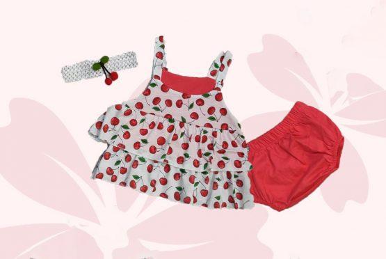 Set cu rochiță de bebe cu cireșe, chiloței și bentiță (6-12 luni)