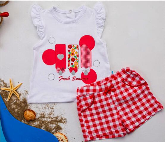Costumaș de fetițe cu tricou și pantaloni scurți în carouri ( 6-12 luni)