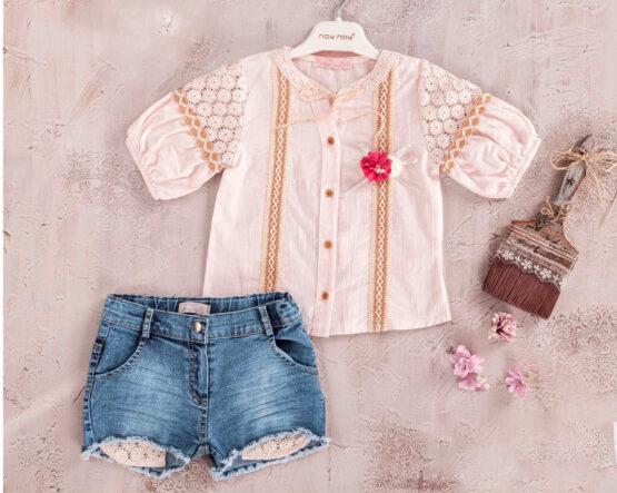 Costum de fetițe cu cămașă și pantaloni scurți de blugi (2-5 ani)