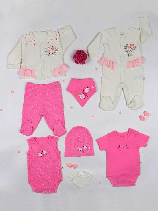 Set de scos din maternitate 8 piese pentru fetițe roz cu buline Imaj (0-3luni)