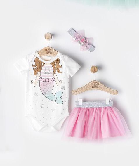 Costumaș de fetițe cu body ,fustiță și bentiță-model sirenă ( 6-18 luni)