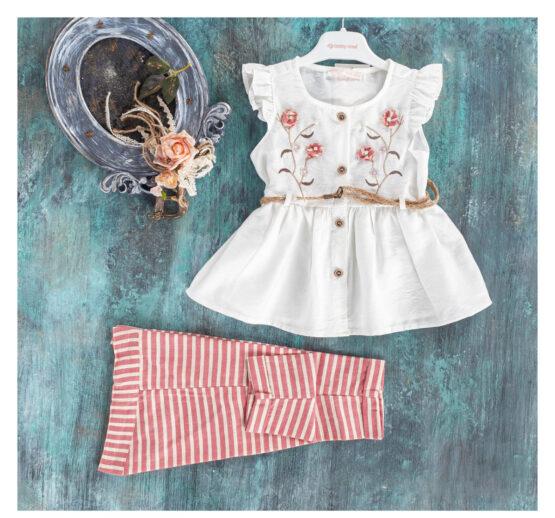 Costum elegant cu cămășuță de in și pantaloni trei sferturi Baby Rose (1-4 ani)