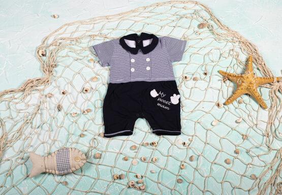 Salopetă de bebeluși bleumarin cu dungi și guler (0-9 luni)