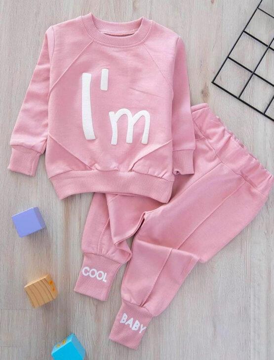 Costumaș roz de fetițe din bumbac  I'm Cool Zeokids (6-9-12-18 luni)