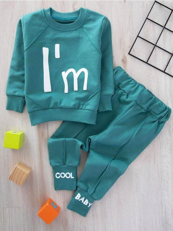Costumaș verde de bebeluși din bumbac I'm Cool Zeokids (6-9-12-18 luni)