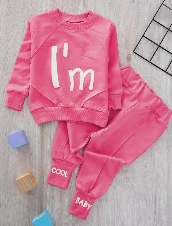 Costumaș ciclame de fetițe din bumbac  I'm Cool Zeokids (6-9-12-18 luni)