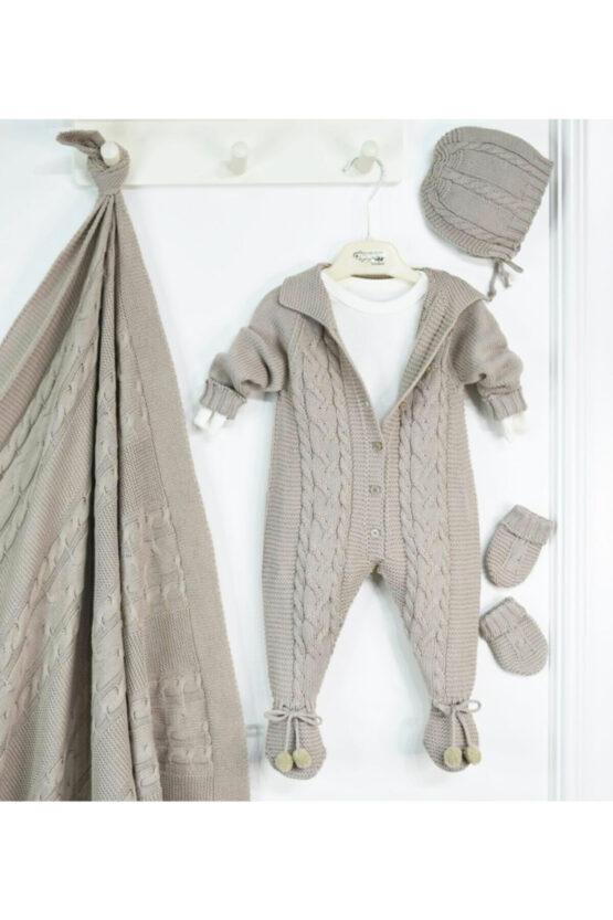 Set maternitate 5 piese din bumbac organic tricotat pentru băieți (0-3luni)