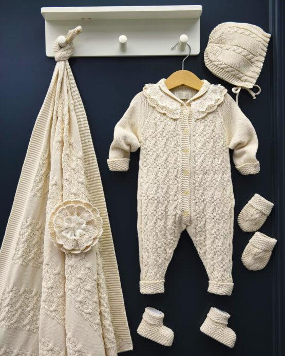 Set maternitate 5 piese tricotat pentru fetițe bej (0-3luni)