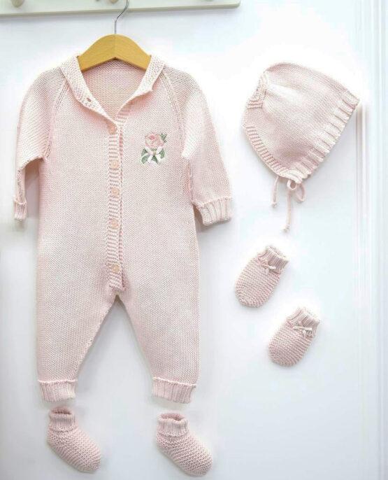 Set maternitate 5 piese tricotat pentru fetițe roz (0-3luni)