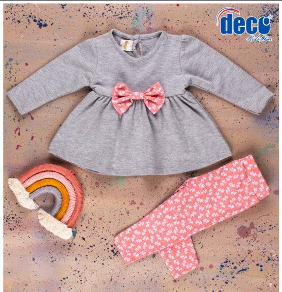 Set de fetițe cu bluză gri și colant roz Deco ( 6-24 luni)