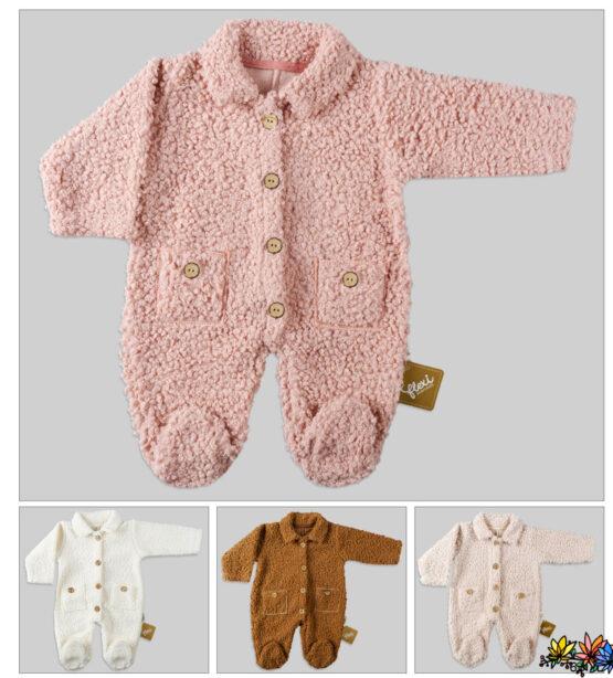 Salopetă din blăniță pentru bebeluși cu guler și nasturi (62-68-74 cm)