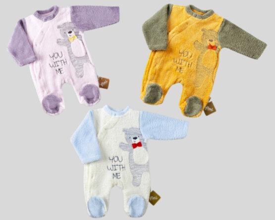 Salopetă de iarnă pentru bebeluși cu ursuleț (56-62-68 cm)