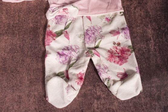 Salopetă din catifea pentru bebeluși cu imprimeu floral (0-9 luni)