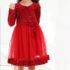 Rochiță roșie din catifea și tull ( 3-8 ani)