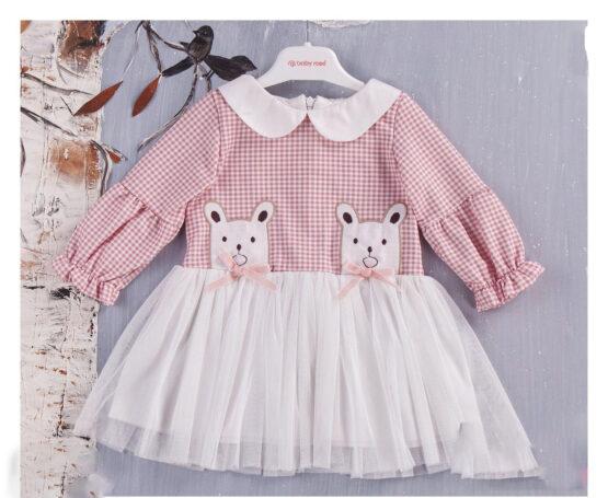 Rochiță în carouri roz cu tull și guleraș pentru fetițe ( 9-24 luni)