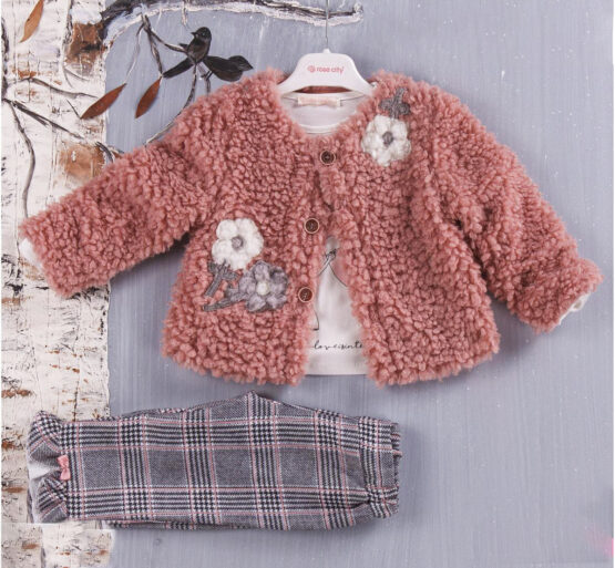 Costum de fetițe chic cu jachetă de blăniță roz prăfuit (1-4 ani)