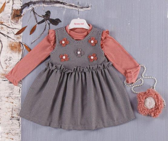 Rochiță de bebeluși cu gentuță și floricele ( 9-24 luni)