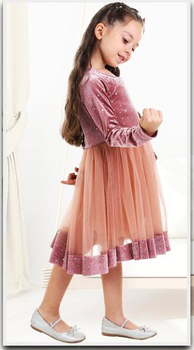 Rochiță roz pudră din catifea și tull ( 3-8 ani)