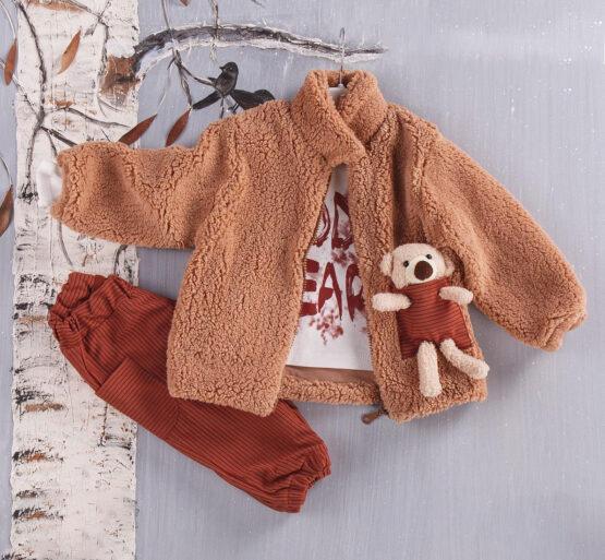 Costum ursuleț de bebe cu blăniță maro (9 luni-2 ani)